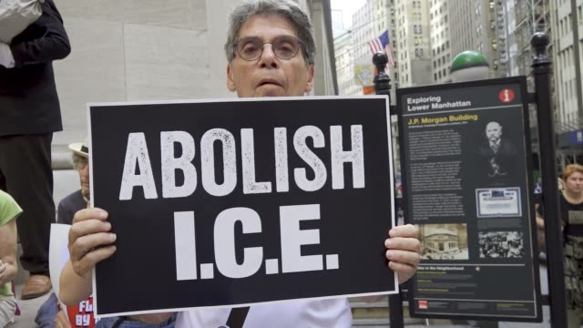 Activist from the organizations Rise and Resist protest on Wall Street in Lower Manhattan on August 2 2018 calling out businesses profiting from ICE...