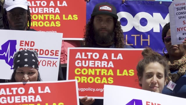 activist rallied on the steps of city hall in new york city demanding that nyc mayor bill de blasio release the feasibility study on safer... - drug overdose stock videos and b-roll footage