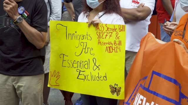 activist, undocumented immigrants and workers, and politicians rallied at madison square park and marched to ny governor andrew cuomo's office... - undocumented immigrant stock videos & royalty-free footage