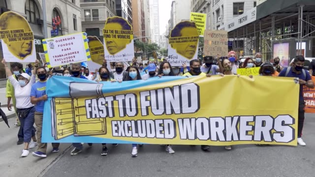 activist undocumented immigrants and workers and politicians rallied at madison square park and marched to ny governor andrew cuomo's office building... - unemployment covid stock videos & royalty-free footage
