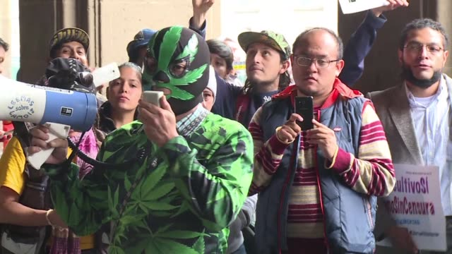 Activists and marijuana consumers protested in front of Mexicos Supreme Court on Wednesday demanding legalization while the court postponed its...
