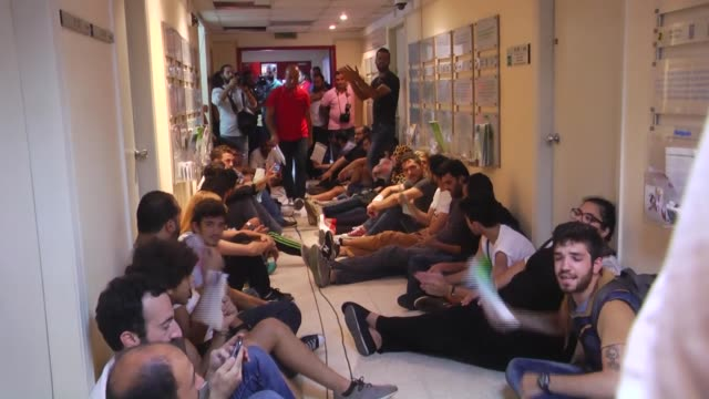 activists belonging to 'you stink' movement staged a sit in inside the ministry of environment building as they demanded the resignation of lebanese... - information medium stock videos & royalty-free footage