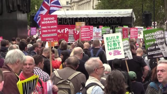 activists demonstrate during an anti-government protest calling for the prime minister's resignation, outside downing street in central london on... - 2019 stock videos & royalty-free footage