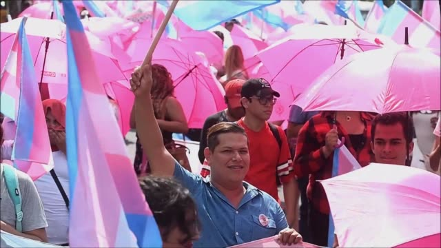activists from the lesbian gay bisexual transgender queer or questioning and intersex communities march through el salvador's capital - intersex stock videos and b-roll footage
