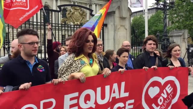 activists gathered at belfast city hall to announce plans for a mass demonstration through the city on july 1. they are hoping to ramp up the... - belfast stock videos & royalty-free footage