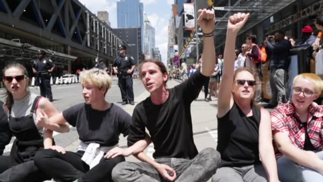 Activists of Extinction Rebellion Movement during a demonstration near the New York Times building on June 22 2019 protest calling for the media to...