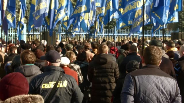 activists of the far right ukrainian svoboda party protested against what they claim to be the falsification of the election results in front of the... - thursday stock videos & royalty-free footage