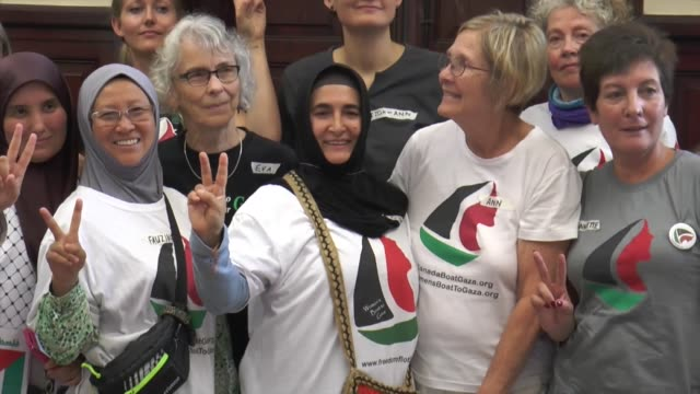 Activists of Woman's Boat ZaytounaOliva for Gaza Turkish Cigdem Topcuoglu and former US the department of state employee Ann Wright speak to press...