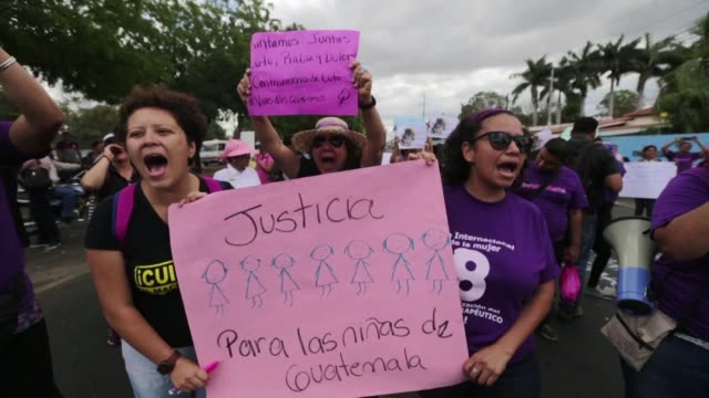 Activists protest in front of the Guatemalan embassy in Managua on Thursday against femicides following the recent fire that killed 40 girls in a...