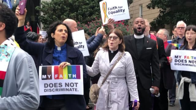 activists sing and hold banners outside the us supreme court as it is set to rule on whether gay transgender workers are protected under anti... - prejudice stock videos & royalty-free footage