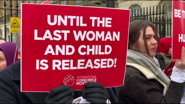 activists stage a demonstration organized by conscience movement to call on the global community to take urgent action to secure the release of women... - demonstrant stock-videos und b-roll-filmmaterial