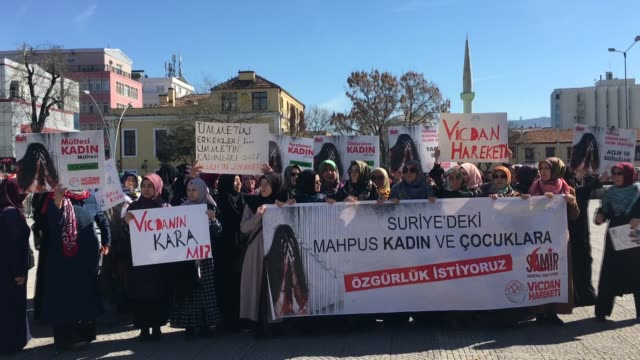 activists stage a demonstration to demand the release of jailed syrian women and children on march 08 2019 in samsun turkey on the occasion of... - women prison stock videos & royalty-free footage