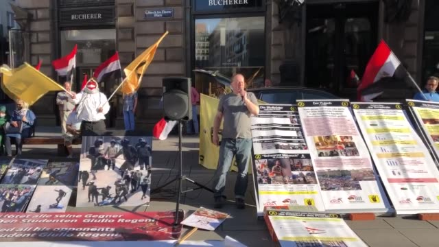 activists stage a protest against egypt's president abdel fattah al-sisi in the 7th year of the military coup on july 05, 2020 in vienna, austria.... - egypt stock videos & royalty-free footage