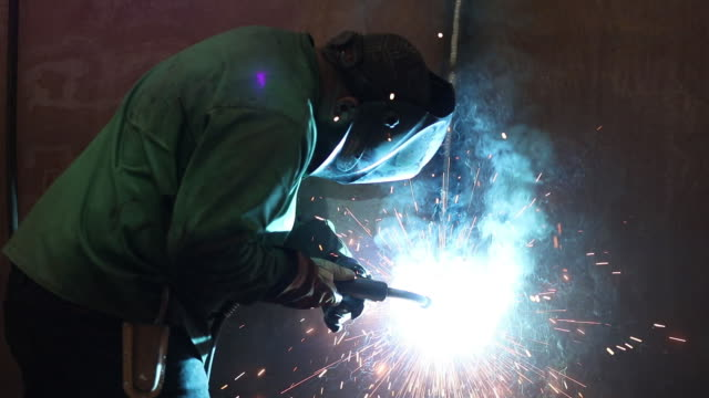 activities inside the mtm trailer factory in kewanee il us on tuesday september 10 2018 - welding helmet stock videos & royalty-free footage