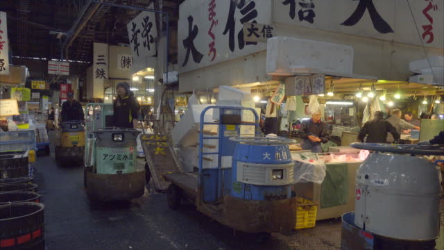 activity in Tsukiji fish market in the morning