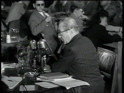 actor adolphe menjou testifying at the house committee on unamerican activities / washington dc united states - house committee on unamerican activities stock videos & royalty-free footage