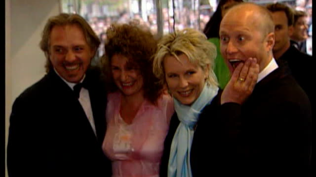 actor and comedian rik mayall dies t31050016 / tx london rik mayall and wife barbara robbin posing with jennifer saunders and adrian edmondson at... - jennifer saunders stock videos & royalty-free footage