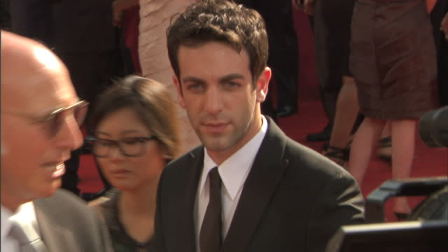 hd actor bj novak walking over on crowded red carpet outside nokia theatre talking to press - b.j. novak stock videos and b-roll footage