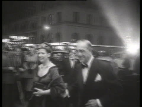 b/w 1954 actor boris karloff arrives at movie premiere / no sound - 1954 stock videos & royalty-free footage