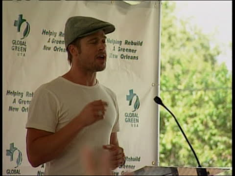 actor brad pitt delivers a press conference about rebuilding new orleans - brad pitt actor stock videos & royalty-free footage