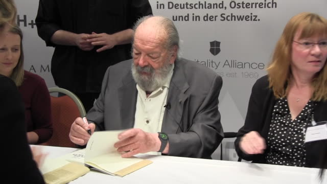 actor bud spencer seen during an autograph session at the ramada hotel on june 20, 2015 in berlin, germany. - western script stock-videos und b-roll-filmmaterial