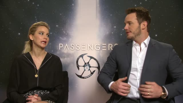 actor chris pratt and actress jennifer lawrence attend the 'passengers' interview on december 02 2016 in berlin germany - chris pratt actor stock videos and b-roll footage