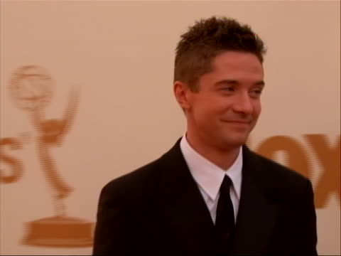 actor christopher grace on the red carpet for 2011 emmy awards on september 18 the 63rd annual primetime emmy awards, honoring the best in primetime... - topher grace stock videos & royalty-free footage