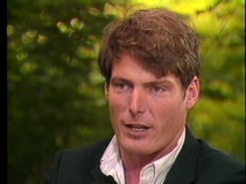 actor christopher reeve discusses an upcoming role in a movie where he plays a yuppie journalist who fakes a story about a street pimp - gender stereotypes stock videos & royalty-free footage