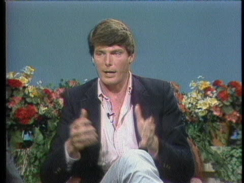 """actor christopher reeve discusses his role in the movie """"superman iii"""". - music or celebrities or fashion or film industry or film premiere or youth culture or novelty item or vacations stock videos & royalty-free footage"""