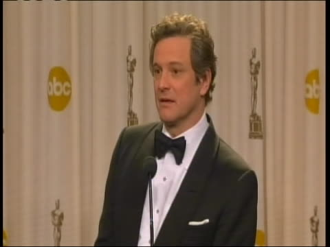actor colin firth sot after winning best actor oscar, saying he thinks all in his category deserved a prize. firth won his oscar for his performance... - all around competition stock videos & royalty-free footage
