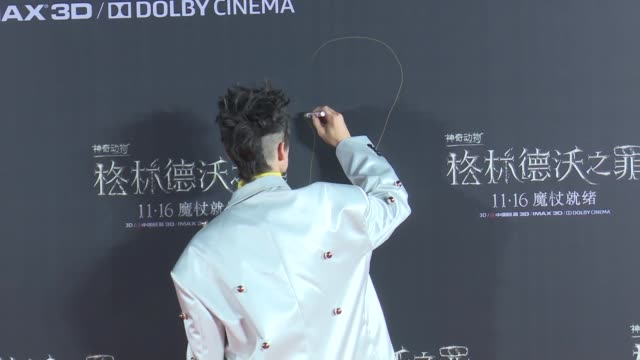 actor ezra miller attends 'fantastic beasts the crimes of grindelwald' beijing premiere draws a figure on the background step and repeat on october... - film premiere stock videos & royalty-free footage
