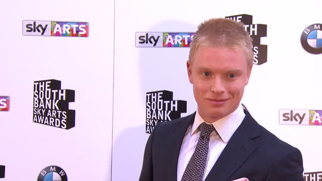 Actor Freddie Fox posing on red carpet Sky Arts Awards Honouring Best of Theatre Film Music and Art take place at the South Bank Centre in London
