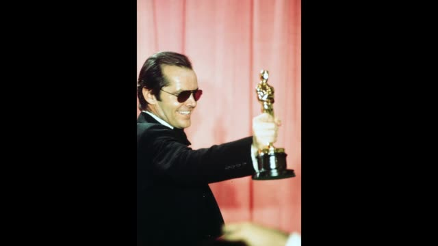 GIF Actor Jack Nicholson pose backstage after winning 'Best Actor' and 'Best Actress' for 'One Flew Over the Cuckoo's Nest' during the 48th Academy...