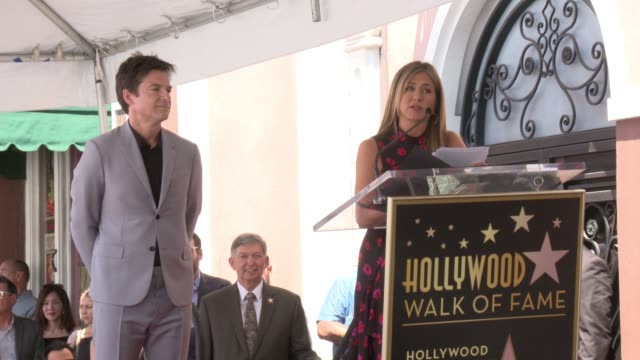 actor jason bateman honored with a star on the hollywood walk of fame on july 26, 2017 in hollywood, california. - ウィル アーネット点の映像素材/bロール