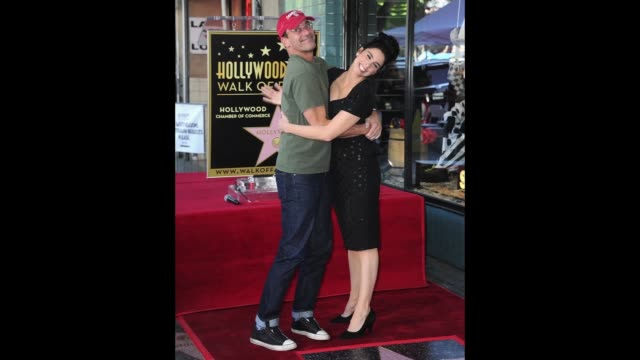 Actor John Hamm and actress Sarah Silverman attend a ceremony unveiling Sarah Silverman's Star on the Hollywood Walk Of Fame on November 9 2018 in...
