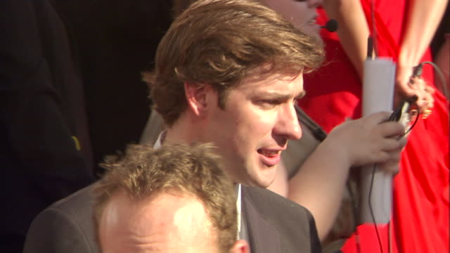 hd actor john krasinski standing on crowded red carpet outside nokia theatre talking to people - john krasinski stock videos and b-roll footage