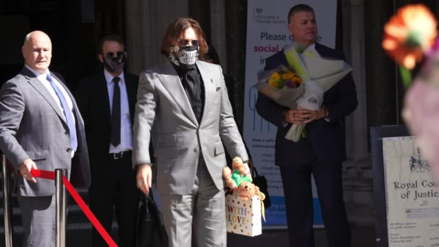 actor johnny depp arrives at court on his libel case against the sun at royal courts of justice strand on july 28 2020 in london englandhollywood... - amber heard stock videos & royalty-free footage