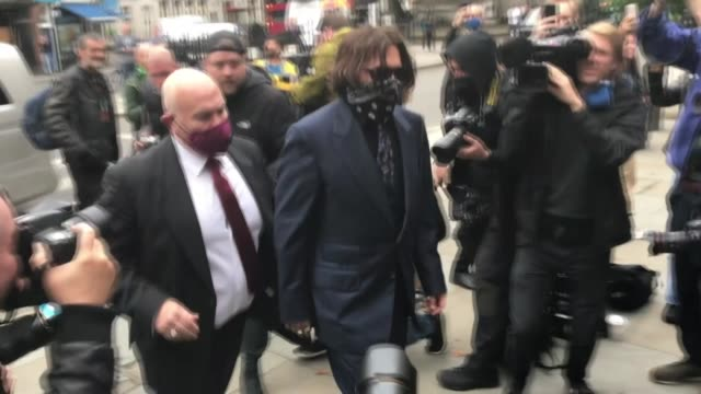 us actor johnny depp arrives for his libel case against the sun newspaper at the royal courts of justice in london england on july 09 2020 depp's... - amber heard stock videos & royalty-free footage