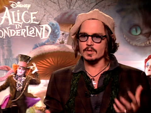 actor johnny depp who plays the mad hatter on how exciting it was to present the film on his first experience of being at a royal premiere at the... - mad hatter stock videos and b-roll footage
