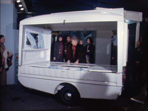 actor, jon pertwee demonstrates a collapsible caravan at a camping exhibition. - doctor who stock videos & royalty-free footage