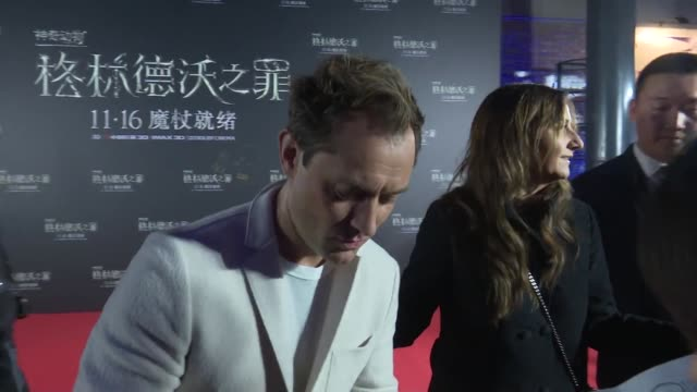 actor jude law signs for fans during 'fantastic beasts: the crimes of grindelwald' beijing premiere on october 28, 2018 in beijing, china. - film premiere stock videos & royalty-free footage