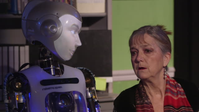 actor judy norman rehearses for the play 'spillikin' in which she appears alongside robot actor robothespian to address issues around companionship... - robot human face stock videos & royalty-free footage