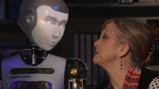 actor judy norman rehearses for the play 'spillikin' which addresses companionship during dementia with robot actor robothespian april 2017 uk rushes... - futuristic stock videos & royalty-free footage