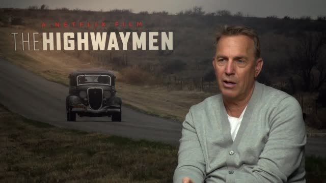 actor kevin costner talks about his upcoming film highwaymen he talks about telling a story that isn't the traditional ode to bonnie clyde the... - kevin costner stock videos & royalty-free footage