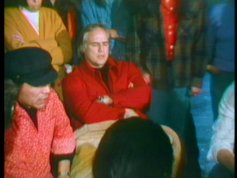 actor marlon brando joins menominee indians as they gather and march at a wisconsin monastery under their occupation. - music or celebrities or fashion or film industry or film premiere or youth culture or novelty item or vacations stock videos & royalty-free footage
