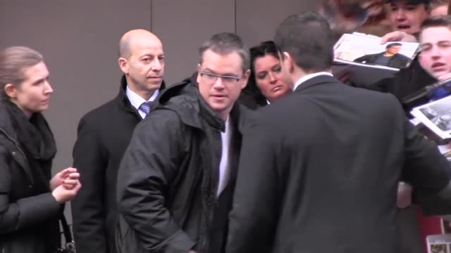 actor matt damon leaves the press conference for 'promised land' actor matt damon leaves the press conference for ' on february 08 2013 in berlin... - matt damon stock videos and b-roll footage