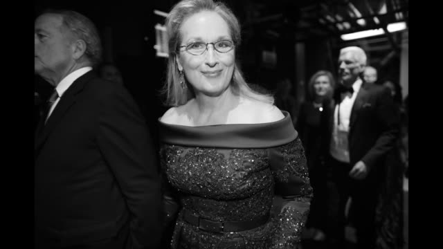 Image has been converted to black and white Actor Meryl Streep and husband Don Gummer seen backstage at the 89th Annual Academy Awards at Hollywood...