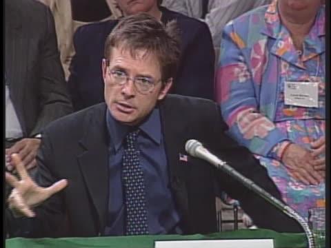 vídeos y material grabado en eventos de stock de actor michael j. fox testifies before a congressional committee on the need for stem-cell research. - michael j. fox