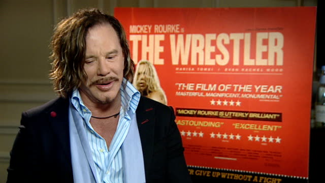 actor mickey rourke to star in new film 'the wrestler' england london int mickey rourke interview sot on being offered the part of randy robinson in... - darren aronofsky stock videos and b-roll footage