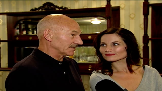actor patrick stewart to appear as 'macbeth' in london; patrick stewart interview sot as stands next kate fleetwood - on first audition to play... - macbeth fictional character stock videos & royalty-free footage